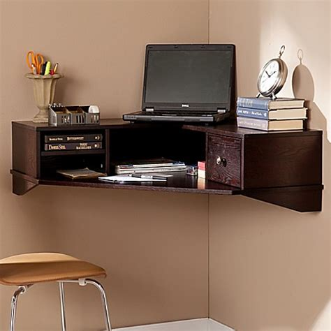 Where To Buy Corner Desk Buy Southern Enterprises Rymark Corner Wall Mount Desk In Espresso From Bed Bath Beyond