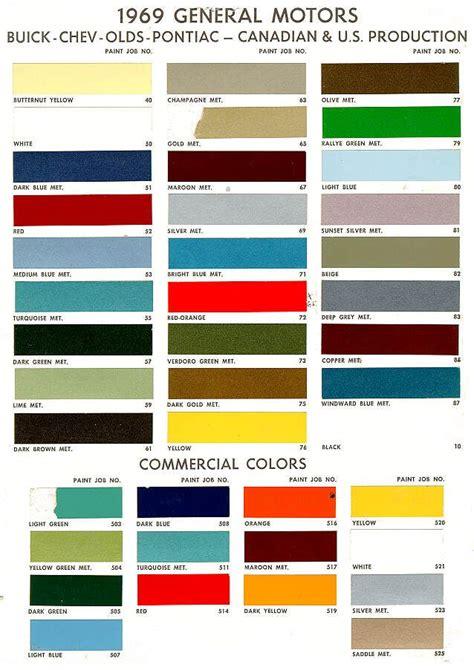 chevy colors 1969 gm chev pontiac buik colours vintage cars