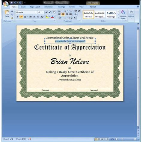 microsoft word template certificate certificate of appreciation template in word