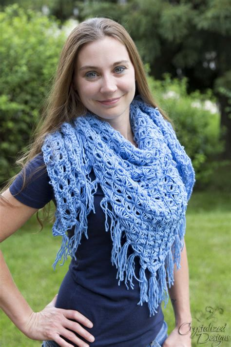 broomstick lace triangle shawl allfreecrochetcom