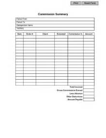 Commission Payout Template by Sales Commission Summary Form