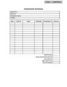 sales commission summary form