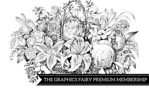 black white flower shop images kit graphics fairy