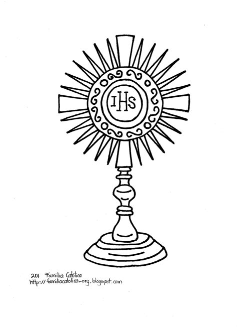 Free Eucharist Mass Coloring Pages Monstrance Coloring Page