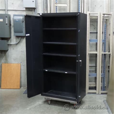 Metal 2 Door Storage Cabinet Black 2 Door Metal Storage Cabinet With Adjustable Shelves Allsold Ca Buy Sell Used Office