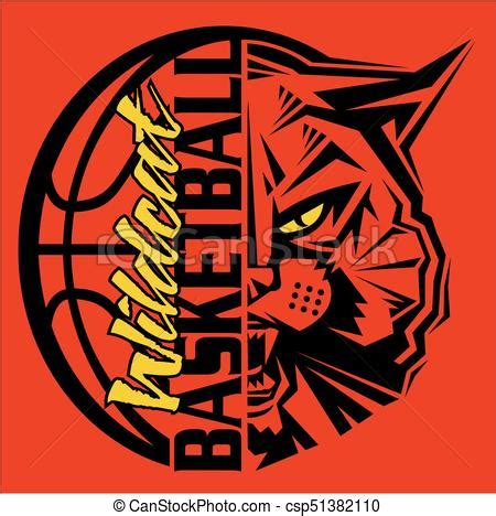 wildcat basketball team design with ball and mascot for