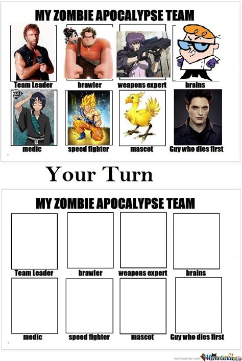 My Zombie Apocalypse Team Meme Creator - my zombie apocalypse team by aeris meme center