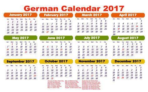 Calendario Week 2017 Yearly German Calendar 2017 With Holidays Free