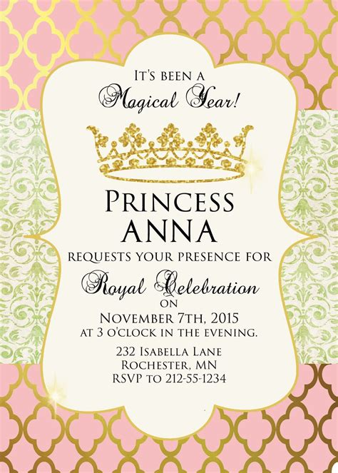 Sugar And Spice Invitations Pink And Gold Princess Party Pink And Gold Invitations Templates