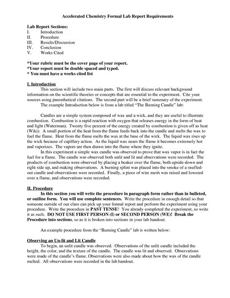 lab report template chemistry best photos of formal introduction paper exle
