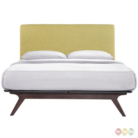 mid century modern queen bed tracy mid century modern upholstered platform queen bed cappuccino green