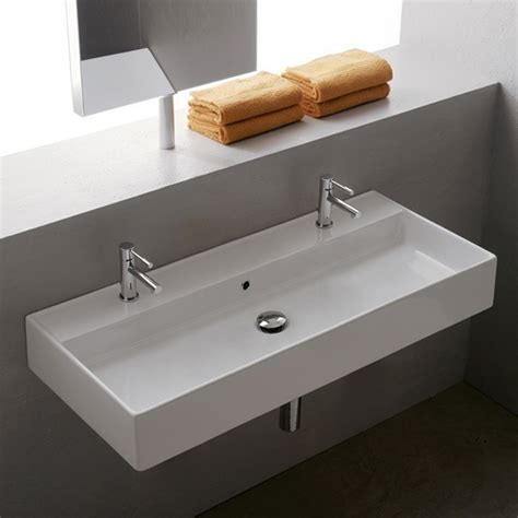 bathroom with 2 sinks teorema wall mounted 2 hole sink zuri furniture