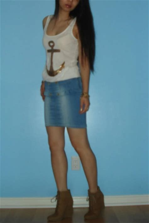 Zara Sailor Top white h m anchor tanktops zara sailor denim skirts zara laceup boots quot quot by the sea quot quot by