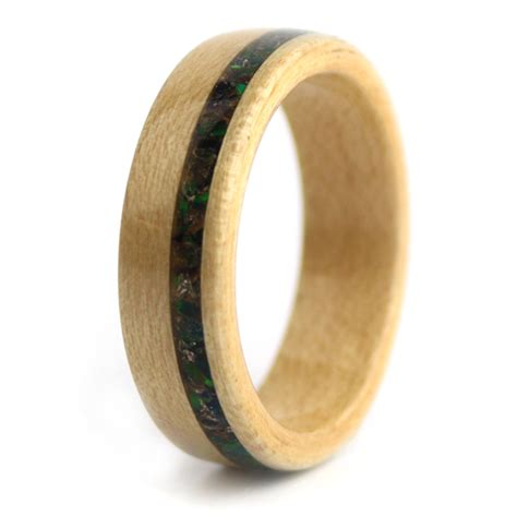 birthwood maple wood with opal birthstone simply wood rings