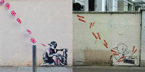 banksys street art recreated featuring beloved cartoon