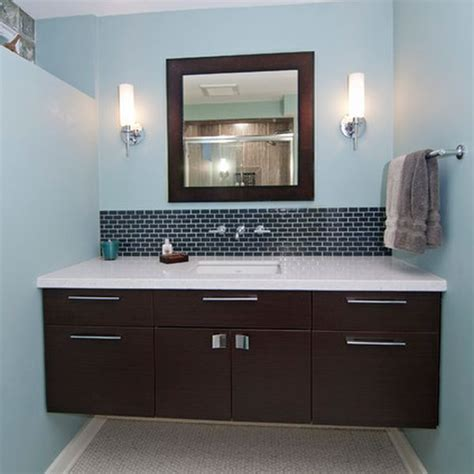 dark vanity bathroom ideas dark floating cabinet with a white countertop and an