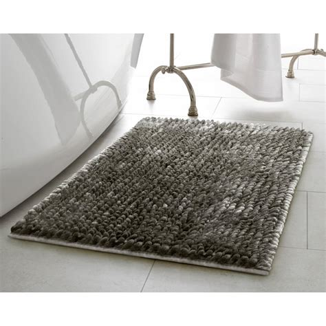17x24 Bath Mat Butter Chenille 17 In X 24 In Bath Mat In Charcoal Laymb006492 The Home Depot
