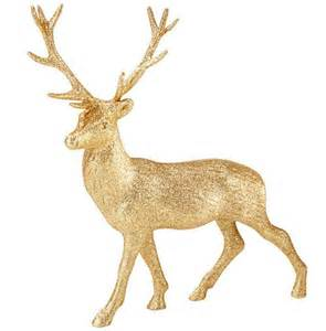 gold glitter reindeer ornament 23cm