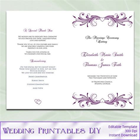 Wedding Program Template Diy Printable Plum Purple Heart Diy Wedding Program Template