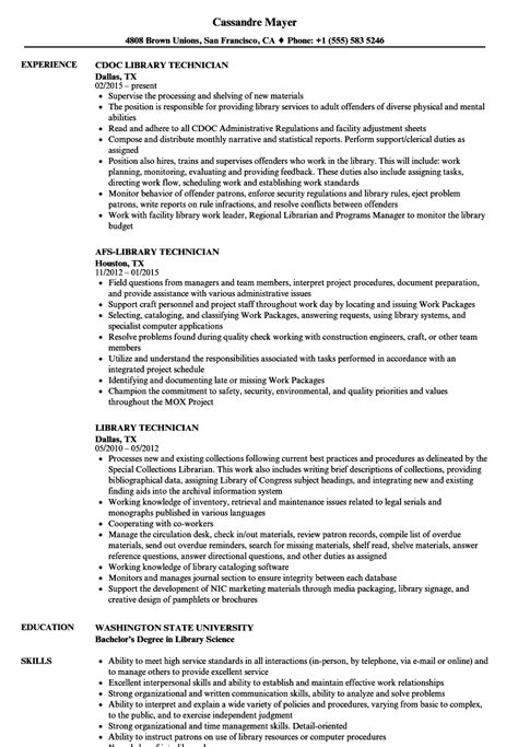 library technician resume sles velvet jobs