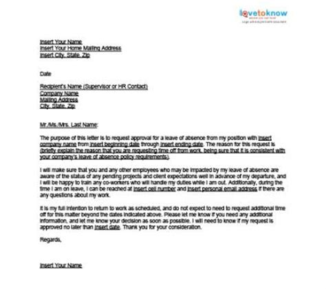 Sle Letter For Leave Of Absence From Work Due To Illness Letter Leave Of Absence Wedding Costa Sol Real Estate