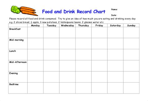 food record chart template food log template 29 free word excel pdf documents