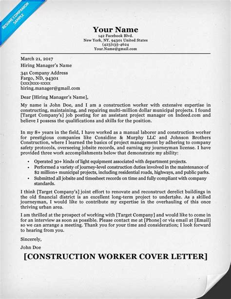 Construction Work Cover Letter Construction Cover Letter Sle Resume Companion