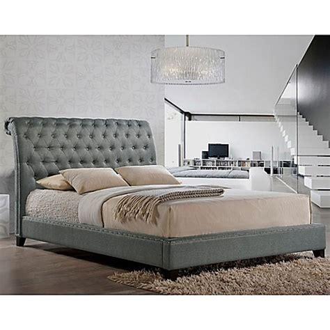 grey tufted bed buy baxton studio jazmin queen tufted modern platform bed