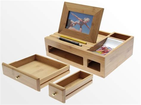Stationery Desk Tidy by Bamboo Desk Organiser With Photo Frame Stationery Box