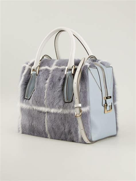 Tods Novita D Bag by Lyst Tod S D Cube Mink Fur Mini Bowler Bag In Blue
