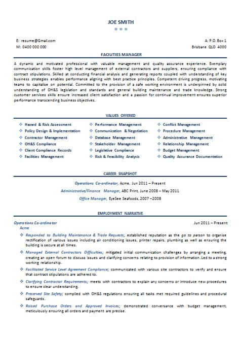 Facilities Coordinator Sle Resume by Facilities Manager Resume Sle 28 Images Facilities Manager Resume Pdf 28 Images 1000 Images