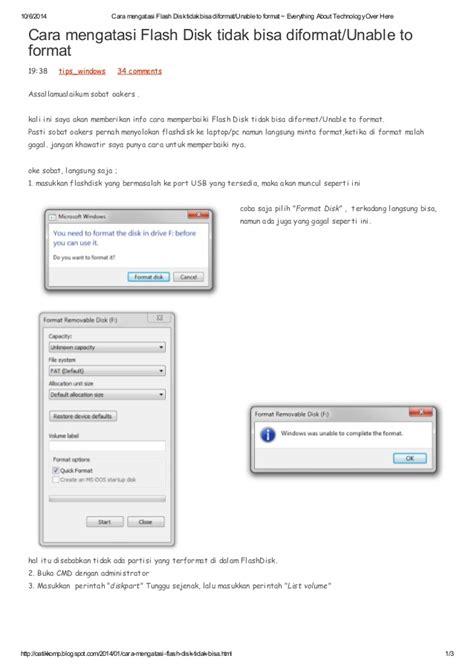 format cd si görünmüyor cara mengatasi flash disk tidak bisa diformat unable to