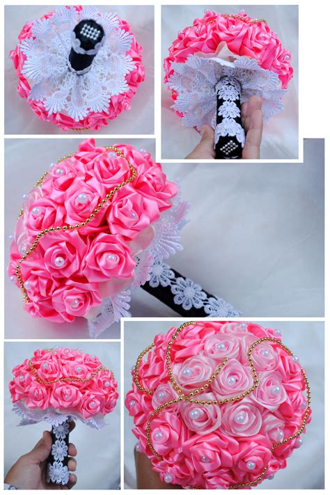 tutorial buket bunga dari pita satin jual buket bunga pita satin aqque shop tokopedia