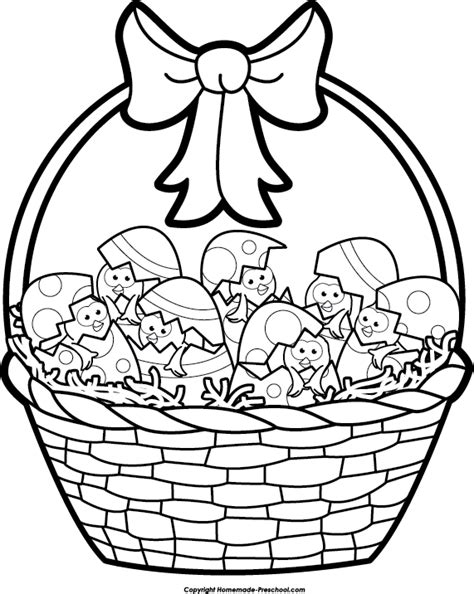 Kaos Bunny And Egg Basket Drawing easter basket drawing clipart best
