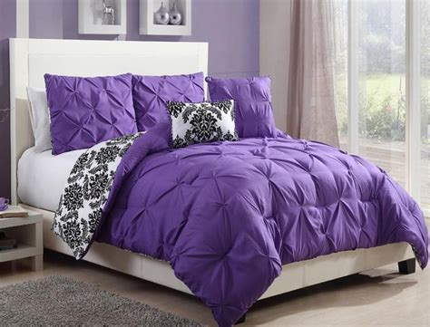 purple twin comforter teen girls black white purple reversible pintuck damask