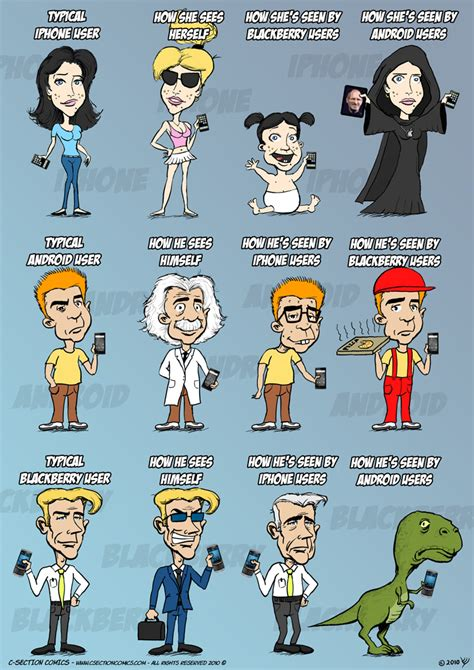 android users vs iphone users iphone vs android vs blackberry c section comics