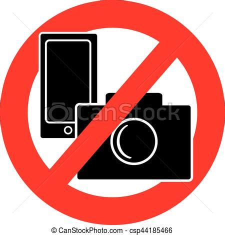 cameri no no and mobile phone symbol on white background
