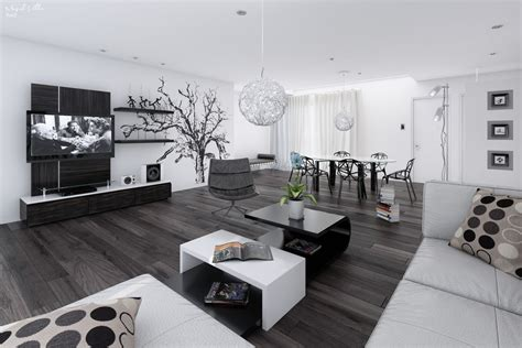 white home interior design 14 black and white living dining room interior design ideas
