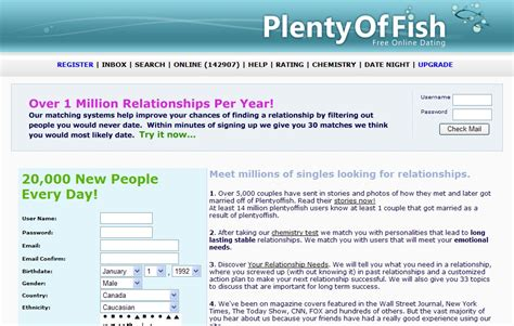 Dating site plenty of fish in the sea