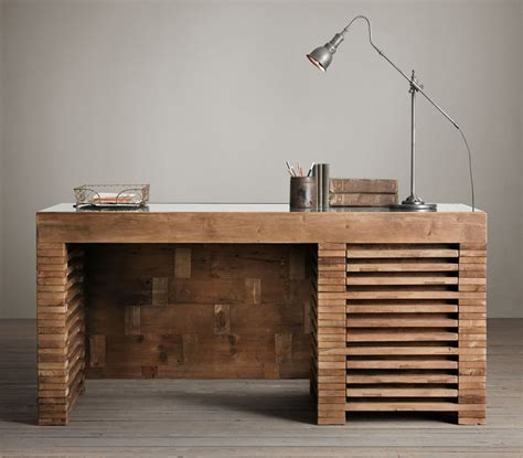 Desk Reclaimed Wood by Reclaimed Timber Slat Desk The Awesomer