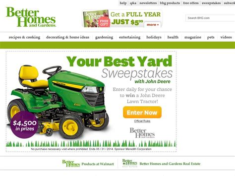 Yard Sweepstakes - better homes and gardens your best yard sweepstakes