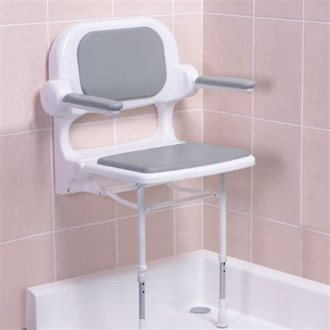 folding shower seat with arms akw 2000 series fold up seat with back and arms