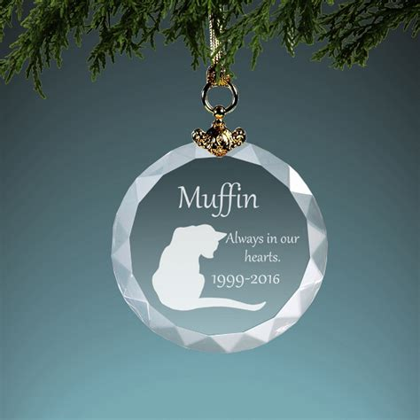Cat Memorial Personalized Crystal Christmas Ornament
