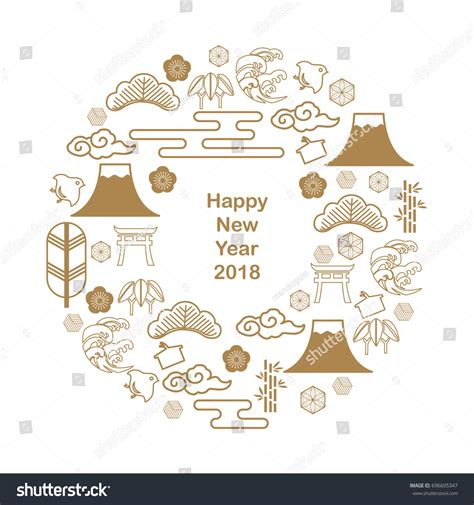 Japanese New Year Cards Template by Japanese Icon Vector Template Postcard Poster Stock Vector