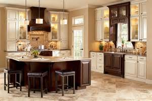 amazing Backsplash Ideas For Small Kitchens #1: traditional-kitchen-backsplash-using-small-tiles-in-neutral-colors-combined-with-dark-brown-and-antique-white-wooden-kitchen-cabinets-and-pendant-lights.jpg