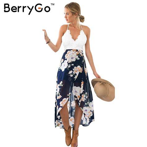 Mini Dress Casual Kasual Biru Polos Slit Dress Import Murah berrygo casual summer style lace backless dress fashion sleeveless v neck