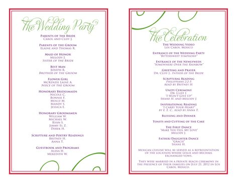 wedding itinerary templates free reception programs