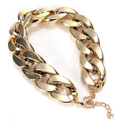 gold chain collar thick gold chain collar statement necklace bracelet anklet jewelry us 3 43