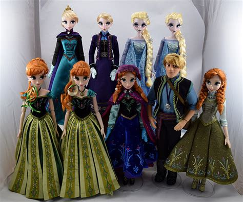 Disney Set Elsa Limited complete set of limited edition 17 frozen dolls 2013 2015 disney store purchases