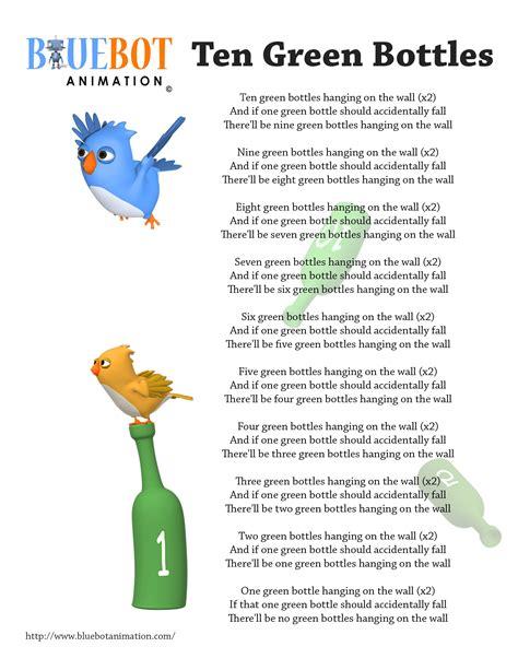 printable lyrics for nursery rhymes free printable nursery rhyme lyrics page 10 green bottles